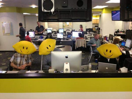 Why are @indystar staffers wearing lemon heads? The Star took fun photos wearing the heads to help promote Lemonade Day 2013. This year's event will be Saturday, May 17. Kids will sell lemonade at locations around the area from 10 a.m. to 3 p.m. as a lesson in entrepreneurship.