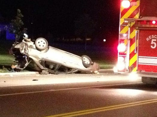 This is one vehicle involved in a pursuit and three hit-and-run accidents in Sioux Falls on Wednesday, Aug. 27, 2014.