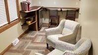 One of the renovated rooms at the Peterson Funeral Home includes a coffee bar. This used to be an office space.