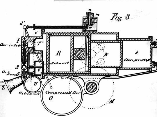 Drawing of early gasoline automobile invented by George