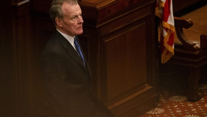 Illinois Speaker of the House Michael Madigan, D-Chicago, looks out over the Illinois House prior to Gov. JB Pritzker delivering his budget address at the Illinois State Capitol in Springfield on Feb. 19.