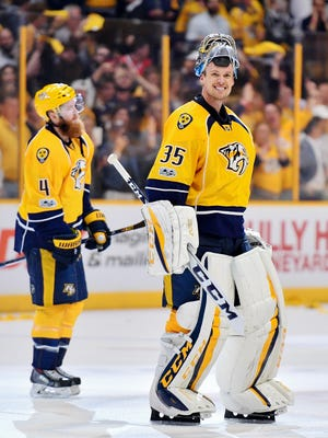 Nashville Predators goalie Pekka Rinne (35) reacts after defeating the Chicago Blackhawks in game four in the first-round NHL playoff series at Bridgestone Arena, Thursday, April 20, 2017, in Nashville, Tenn.