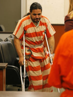 Jose Velasco appears on crutches June 10 in Monterey County Superior Court in Salinas.