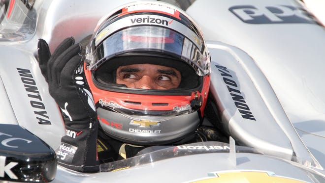 Team Penske driver  Juan Pablo Montoya prepares for his  qualifying attempt on Armed Forces Pole Day on Sunday, May 22, 2016, for the Indianapolis 500 at  Indianapolis Motor Speedway.