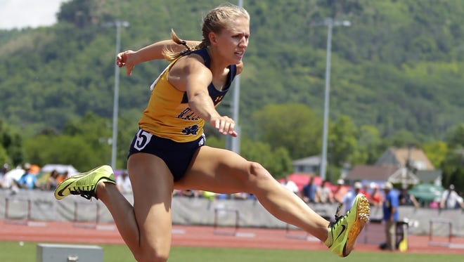 Wausau West's Brooke Jaworski competes in the Division 1 300 meter hurdles on Friday during the first day of the WIAA state track and field meet in La Crosse