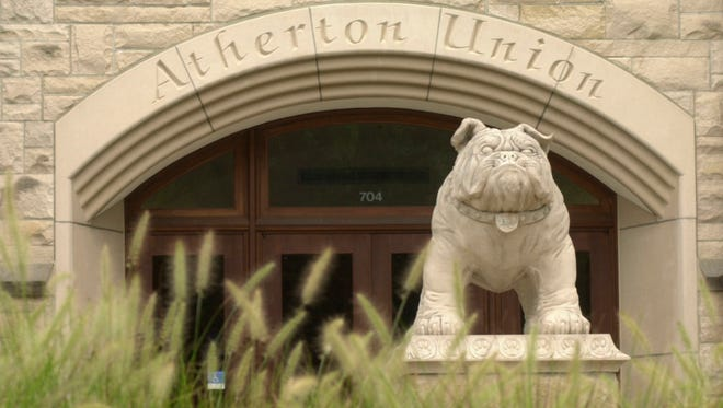 Butler Bulldog sculpture in front of the student union at Butler University, Atherton Union, photographed August 2002.