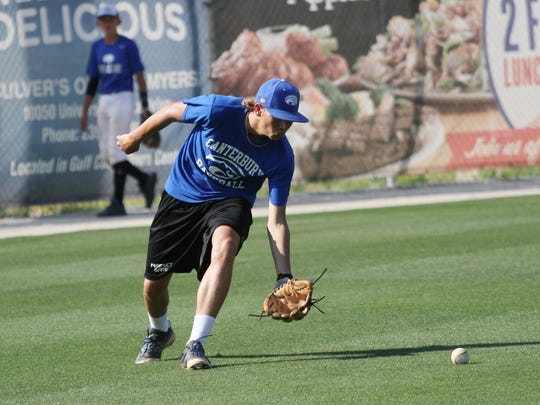 Canterbury's Levi Shuck fields a ground ball during practice at FGCU on Tuesday.