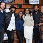 """Cast members, from left, Armie Hammer, Colman Domingo, Aja Naomi King, Gabrielle Union, Chiké Okonkwo and Esther Scott pose together at """"The Birth of a Nation"""" cast party during the Sundance Film Festival in Park City, Utah."""