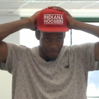 De'Ron Davis showed off his Indiana University hat after picking the Hoosiers. He will be a 2016 recruit.