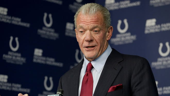 Indianapolis Colts owner and CEO Jim Irsay announces that he has fired general manager Ryan Grigson during a press conference Saturday, January 21, 2017, late afternoon at the Colts complex on W 56th Street.