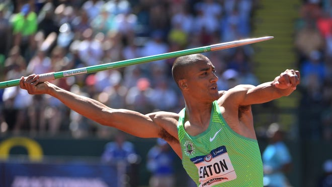 Jul 3, 2016; Eugene, OR, USA; Ashton Eaton competes during the decathlon javelin in the 2016 U.S. Olympic track and field team trials at Hayward Field. Mandatory Credit: Kirby Lee-USA TODAY Sports