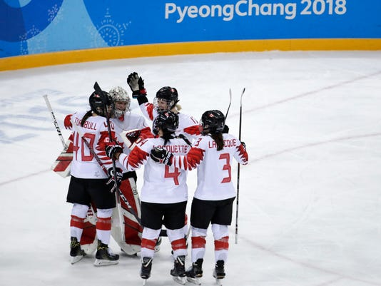 Players from Canada celebrate after the semifinal round of the women's hockey game against the team from Russia at the 2018 Winter Olympics in Gangneung, South Korea, Monday, Feb. 19, 2018. Canada won 5-0. (AP Photo/Julio Cortez)