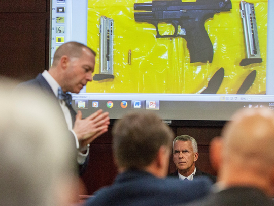 Prosecutor DJ Hilson questions Gerald McCarthy, who is with the computer crimes unit at Michigan State Police.