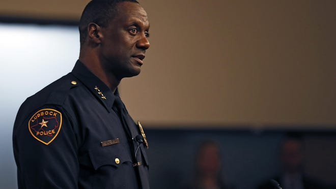 Floyd Mitchell talks to the crowd after he was sworn in as Chief of Police, Friday, Nov. 15, 2019, at City Hall in Lubbock, Texas.