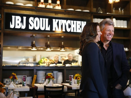 Jon Bon Jovi and his wife Dorothea Bongiovi at the grand opening of the JBJ Soul Kitchen in Toms River, NJ, Tuesday, May 10, 2016.