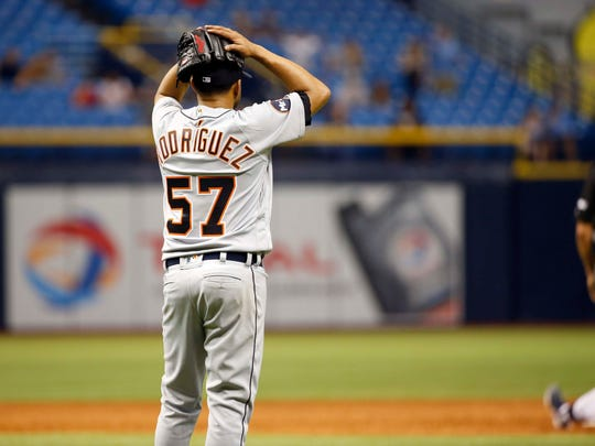 Detroit Tigers relief pitcher Francisco Rodriguez (57) reacts after they lost to the Tampa Bay Rays in the ninth inning at Tropicana Field.