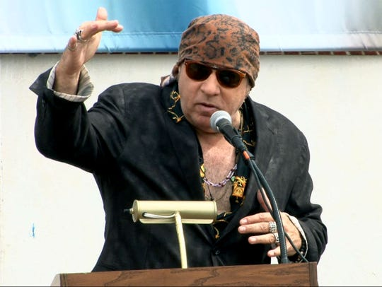Steven Van Zandt speaks during the groundbreaking for