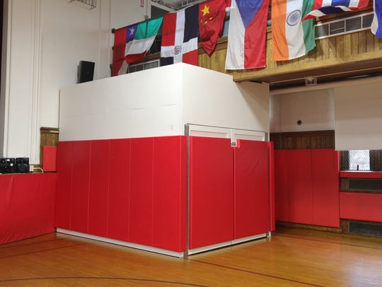 A make-shift room houses the lunch tables in the gym