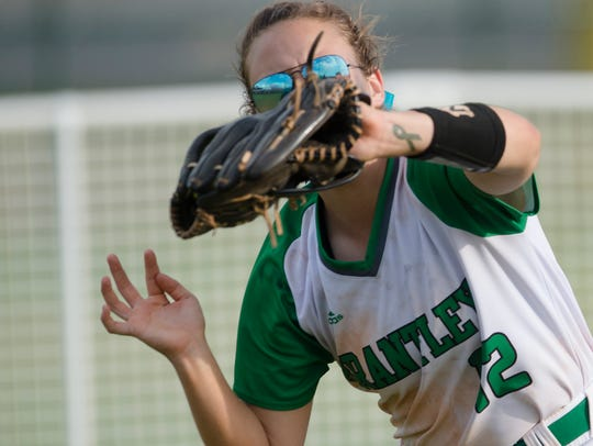 Brantley's Anna Katherine Kimbro catches a fly ball