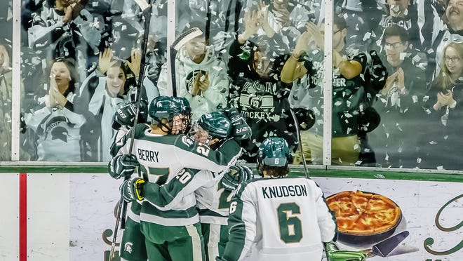 With two shutout wins over Wisconsin and a little help around the league, the MSU hockey team moved into first place in the Big Ten standings over the weekend with two regular-season games remaining.