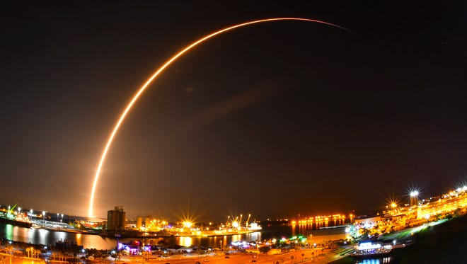 Last week's launch of the SpaceX Falcon 9 rocket carrying a Telstar 19v communications satellite launched from Cape Canaveral Air Force Station. An approximate three minute time exposure of the launch illuminating the sky over Port Canaveral viewed from Exploration Tower.