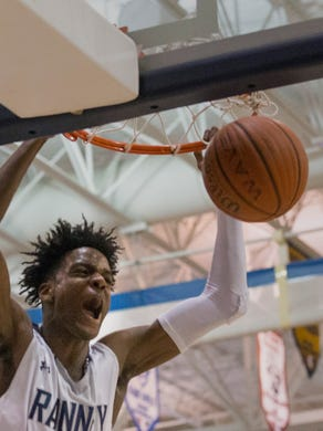 Ranney&rsquo;s Bryan Antoine dunks during first half action during a 2018&nbsp; Shore Conference Tournament semifinal game game against CBA.<br /> &nbsp;