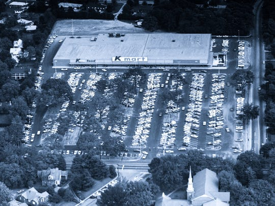 An aerial view of opening day at the Kmart on North