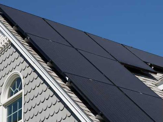 Solar panels installed on a home's roof.