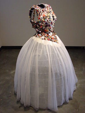 "This dress, titled ""Mother of Pearl"" by York artist"