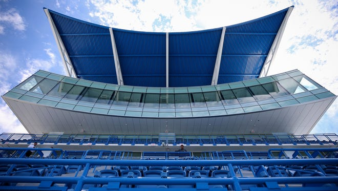 View looking up at the new $25 million South Building at the Lindner Family Tennis Center, pictured, Thursday, July 19, 2018, in Mason, Ohio, will open for the 2018 Western & Southern Open tennis tournament.