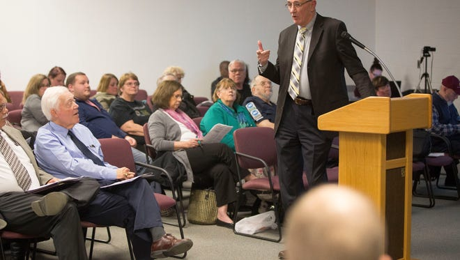Emergency Manager Steve Edwards talks to the public and the board about business involving the district during the monthly meeting of the Muncie Community School Board on Jan. 9 at the Muncie Area Career Center.