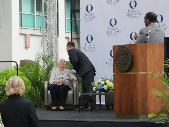 Florida Gulf Coast University Dean Mitchell Cordova  (center) thanks former educator Elaine Marieb (left) for her $10 million gift to the university. The gift is the largest from an individual to FGCU.
