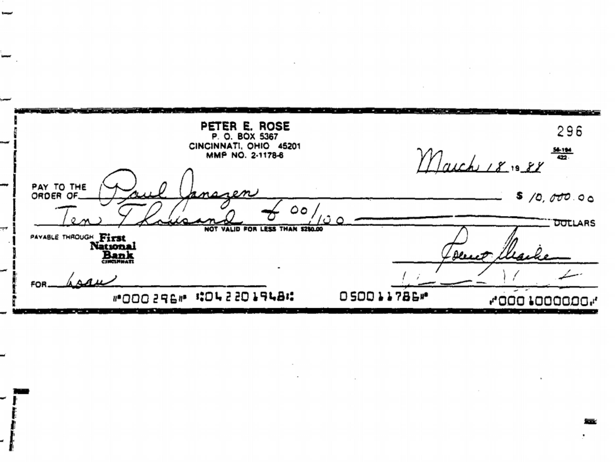 The $10,000 written to Paul Janszen.