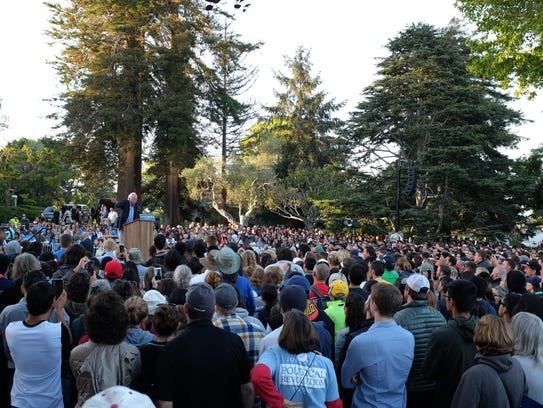 Sanders speaks to a packed Colton Lawn during his Monterey