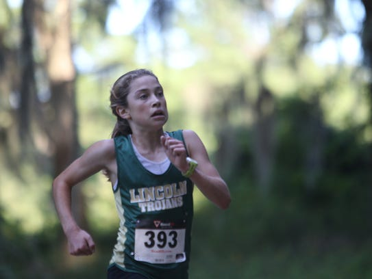 Lincoln freshman Alyson Churchill ran to victory in