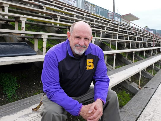 Football coach and teacher Steve Goodbody in the stands
