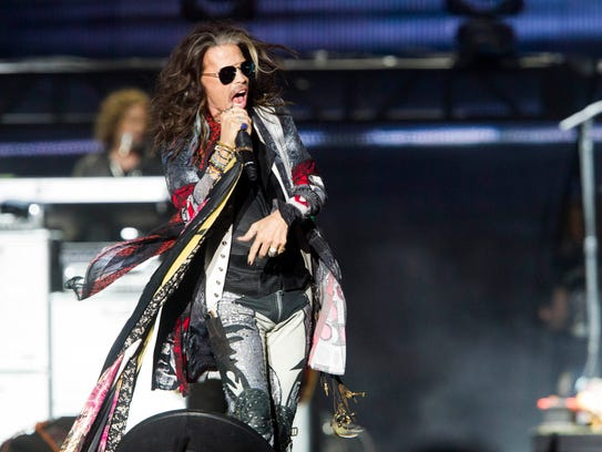 Steven Tyler performs with Aerosmith during the March