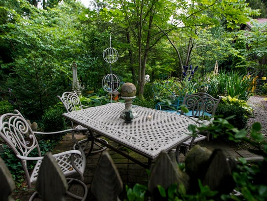 The whimsical garden at the home of Margie and Bill