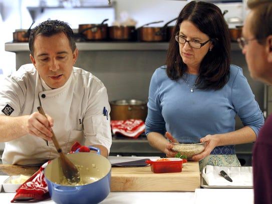 Chef David Baruthio, left, and cookbook author Wini
