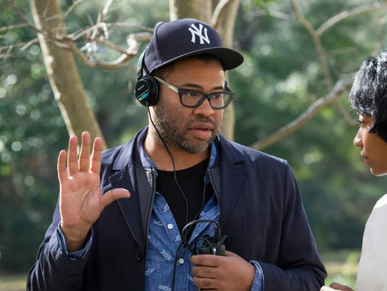 "Director Jordan Peele on the set of ""Get Out."""