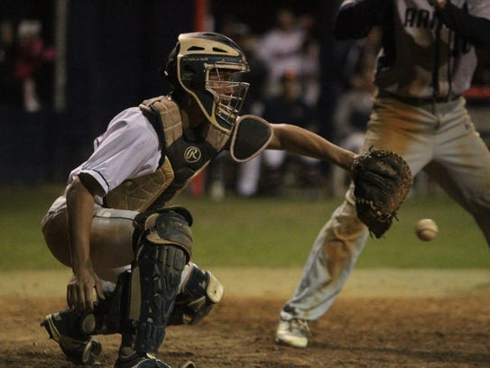 Wakulla catcher Landon Turner can't handle a pitch.