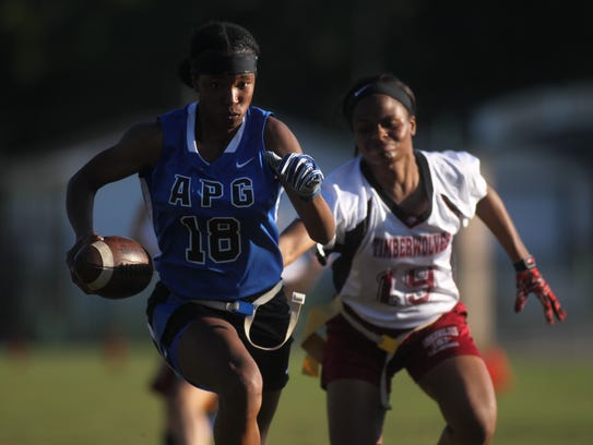 Godby's Gisele Jones catches a deep pass and streaks