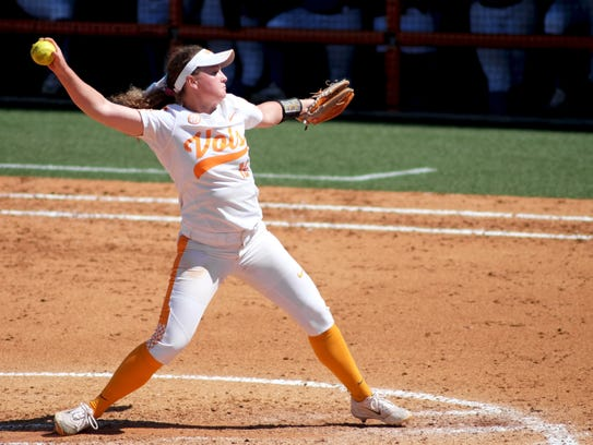 Lady Vols pitcher Caylan Arnold winds up to pitch during