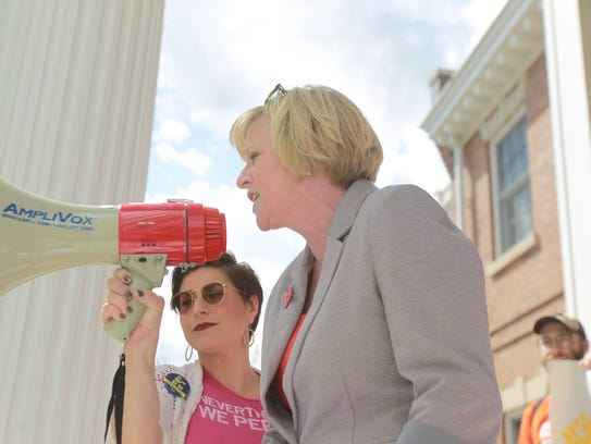 Cathy Glasson, gubernatorial candidate stopped by the