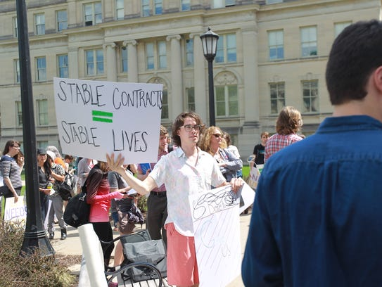 Faculty members protesting Friday say they want better
