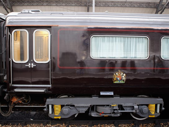 """A """"saloon,"""" or carriage, of the Royal Train at Liverpool"""