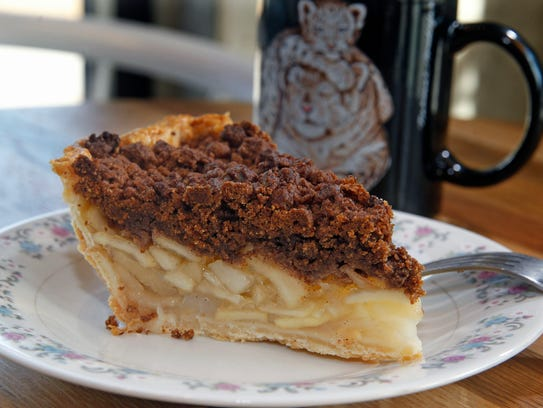 Pear pie with speculoos cookie topping at Batches bakery