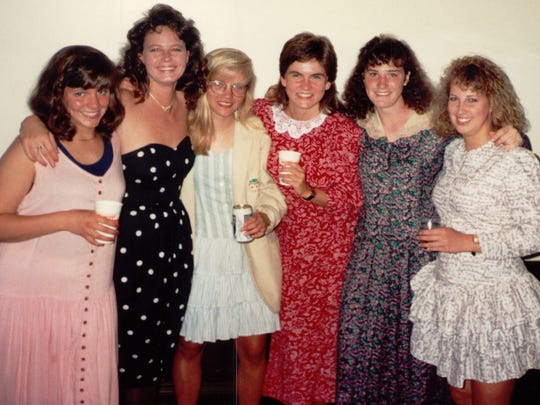 Tammy Zywicki, third from left, and her friends at Grinnell College before a college dance.
