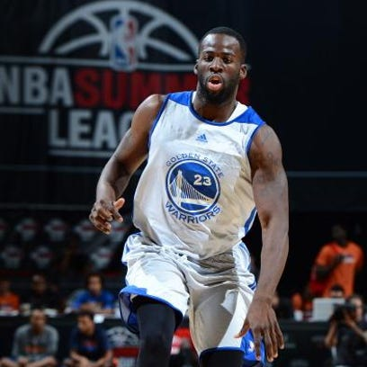 LAS VEGAS, NV - JULY 15: Draymond Green #23 of the Golden State Warriors battles for positioning against Garrett Stutz #41 and Ben McLemore #16 of the Sacramento Kings during NBA Summer League on July 15, 2013 at the Thomas & Mack Center in Las Vegas, Nevada. NOTE TO USER: User expressly acknowledges and agrees that, by downloading and/or using this Photograph, user is consenting to the terms and conditions of the Getty Images License Agreement. Mandatory Copyright Notice: Copyright 2013 NBAE (Photo by Jack Arent/NBAE via Getty Images)