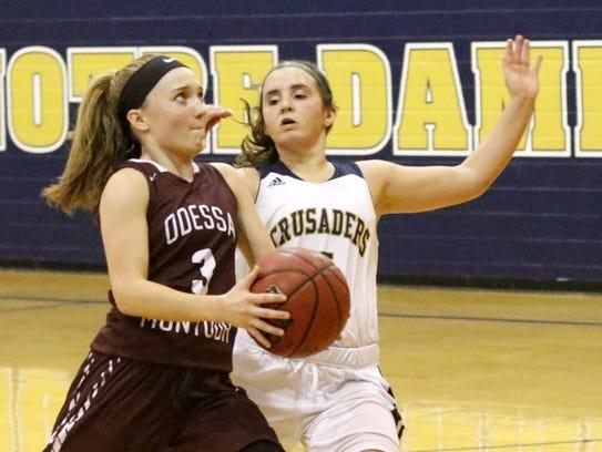 Odessa-Montour's Kennedey Heichel takes the ball toward